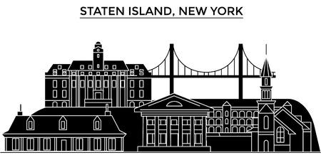 スタテン島、ニューヨークの建築都市のスカイライン