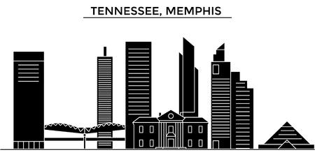Tennessee, Memphis architecture city skyline 向量圖像