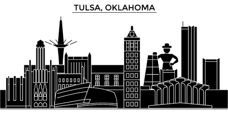 Tulsa, Oklahoma architecture city skyline Illustration