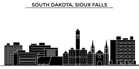 アメリカ、サウスダコタ州スーフォールズ建築ベクトル都市スカイライン、黒景観、ランドマークと分離された背景の観光スポット