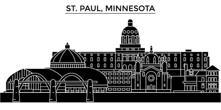 Usa, St. Paul, Minnesota architecture vector city skyline, black cityscape with landmarks, isolated sights on background