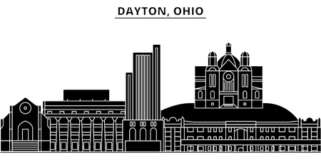 Usa, Dayton, Ohio architecture vector city skyline, black cityscape with landmarks, isolated sights on background
