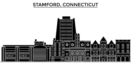 Usa, Stamford, Connecticut architecture vector city skyline, black cityscape with landmarks, isolated sights on background