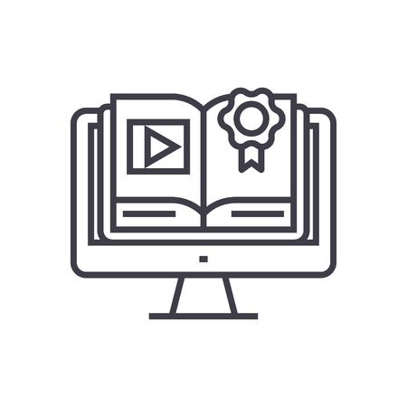 オンライン コース、コンピューター本の概念ベクトル細い線アイコン、記号、シンボル、孤立した背景のイラスト