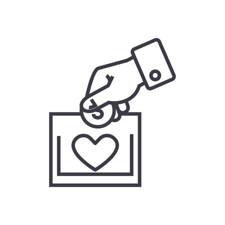 liefdadigheid en donatie concept vector dunne lijn pictogram, teken, symbool, illustratie op zichzelf staande achtergrond Stock Illustratie