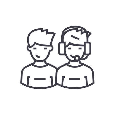 クライアント サポート チーム概念ベクトル細い線アイコン、記号、シンボル、イラスト分離の背景に