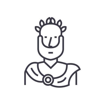 Aristóteles, griego filósofo concepto vector delgada línea icono, signo, símbolo, ilustración sobre fondo aislado Ilustración de vector