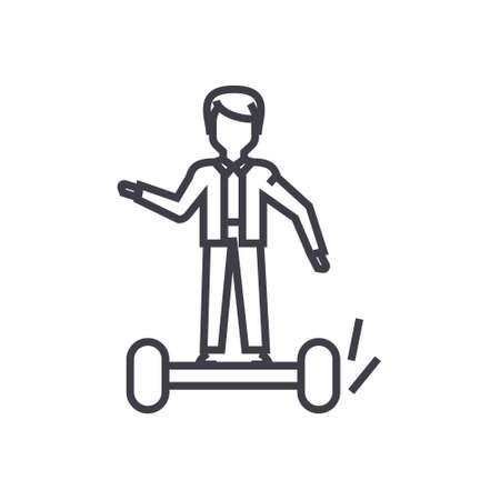 man on gyroscooter concept vector thin line icon, sign, symbol, illustration on isolated background