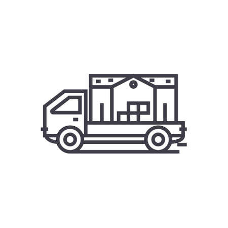 moving house truck concept vector thin line icon, sign, symbol, illustration on isolated background Stock fotó - 88581008