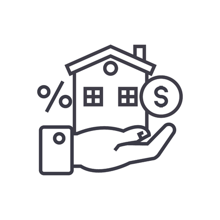 property investment concept vector thin line icon, sign, symbol, illustration on isolated background