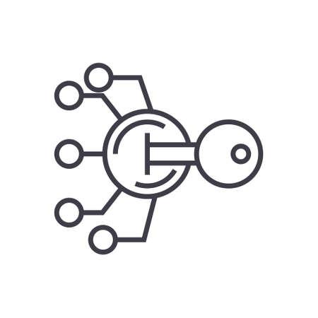 Cifrado, criptografía clave concepto vector delgada línea icono, signo, símbolo, ilustración sobre fondo aislado Foto de archivo - 88581020