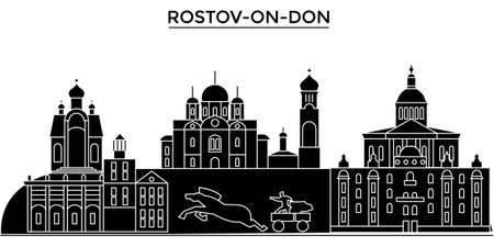 orthodoxy: Rostov-On-Don architecture urban skyline with landmarks.