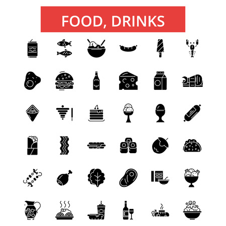 Food, drinks illustration, thin line icons, linear flat signs, outline pictograms, vector symbols set, editable strokes