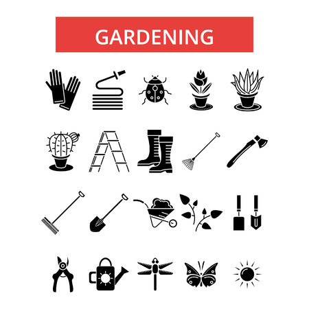 Gardening illustration, thin line icons, linear flat signs, outline pictograms, vector symbols set, editable strokes