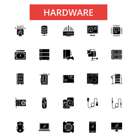 Hardware illustration, thin line icons, linear flat signs, outline pictograms, vector symbols set, editable strokes