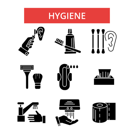 Hygiene illustration, thin line icons, linear flat signs, outline pictograms, vector symbols set, editable strokes Ilustração