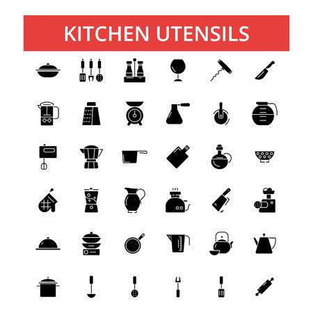 キッチン用品のイラスト、細い線のアイコン、線形フラット サイン、概要絵文字ベクトル シンボルを設定すると、編集可能なストローク