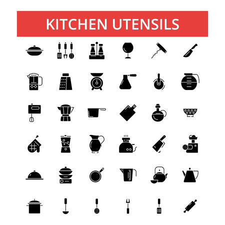 Kitchen utensils illustration, thin line icons, linear flat signs, outline pictograms, vector symbols set, editable strokes