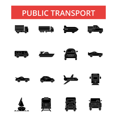 Public transport illustration, thin line icons, linear flat signs, outline pictograms, vector symbols set, editable strokes Illustration