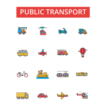 Public transport illustration, thin line icons, linear flat signs, outline pictograms, vector symbols set, editable strokes Stock Vector - 88677333