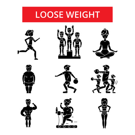 Loose weight illustration, thin line icons, linear flat signs, outline pictograms, vector symbols set, editable strokes