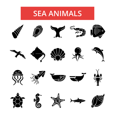 Sea animals illustration, thin line icons, linear flat signs, outline pictograms, vector symbols set, editable strokes