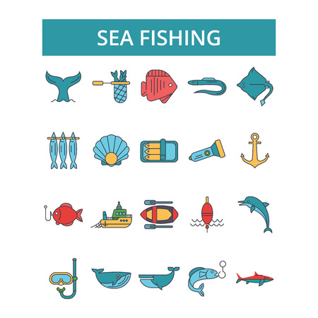 Sea fishing illustration, thin line icons, linear flat signs, outline pictograms, vector symbols set, editable strokes