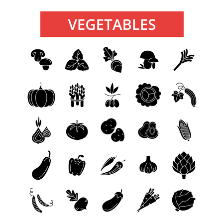Vegetables illustration, thin line icons, linear flat signs, outline pictograms, vector symbols set, editable strokes Illustration