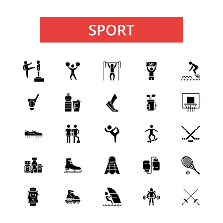 Sport illustration, thin line icons, linear flat signs, outline pictograms, vector symbols set, editable strokes Ilustração