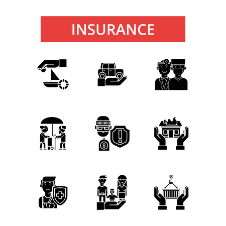Insurance illustration, thin line icons, linear flat signs, outline pictograms, vector symbols set, editable strokes