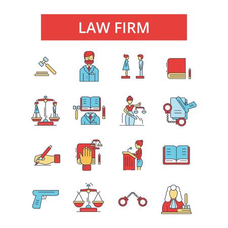 Advocatenkantoor illustratie, dunne lijn pictogrammen, lineaire vlakke borden, overzichtspictogrammen, vector symbolen set, bewerkbare lijnen Stock Illustratie