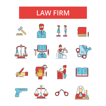 Law firm illustration, thin line icons, linear flat signs, outline pictograms, vector symbols set, editable strokes