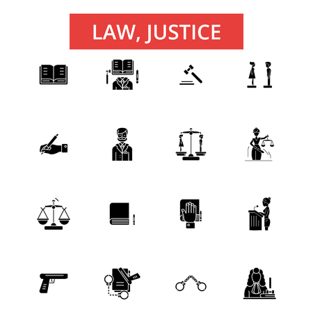 Law justice illustration, thin line icons, linear flat signs, outline pictograms, vector symbols set, editable strokes Illustration