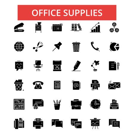 事務用品の図、細い線のアイコン、線形フラット印概要絵文字、ベクトル記号セット、編集可能なストローク  イラスト・ベクター素材