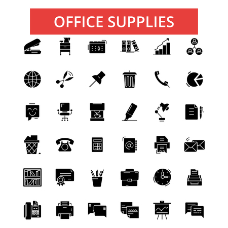 Office supplies illustration, thin line icons, linear flat signs, outline pictograms, vector symbols set, editable strokes