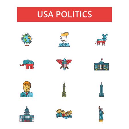 Usa politics illustration, thin line icons, linear flat signs, outline pictograms, vector symbols set, editable strokes Ilustração