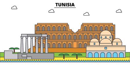 Tunesië schetst de stad. Stock Illustratie