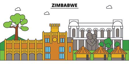 Zimbabwe outline city. Stock Vector - 88672615
