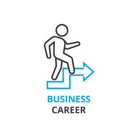 ビジネス キャリア概念、アウトラインのアイコン、線形記号、細い線ピクトグラム、ロゴ、フラットの図、ベクトル