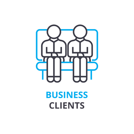 Business clients concept , outline icon, linear sign, thin line pictogram, logo, flat illustration, vector