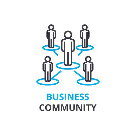ビジネス コミュニティの概念、アウトラインのアイコン、線形記号、細い線ピクトグラム、ロゴ、フラットの図、ベクトル