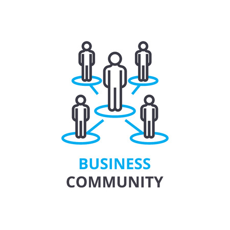 Business community concept , outline icon, linear sign, thin line pictogram, logo, flat illustration, vector Logo