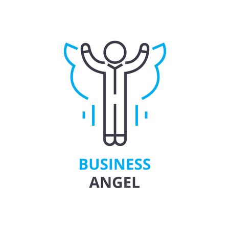 Conceito de anjo de negócios, ícone de estrutura de tópicos, sinal linear, pictograma de linha fina, logotipo, ilustração plana, vetor