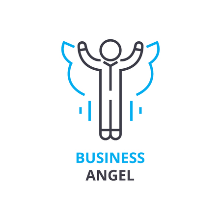 Business angel concept , outline icon, linear sign, thin line pictogram, logo, flat illustration, vector