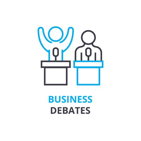 ビジネス論争概念、アウトラインのアイコン、線形記号、細い線ピクトグラム、ロゴ、フラットの図、ベクトル
