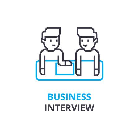비즈니스 인터뷰 개념, 개요 아이콘, 선형 기호, 얇은 선 그림, 로고, 평면 그림, 벡터