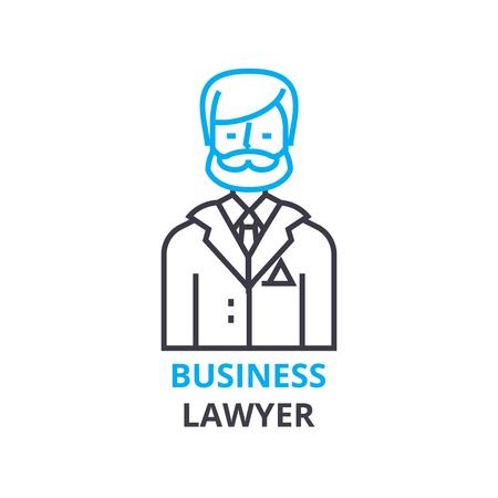 ビジネス弁護士の概念、アウトラインのアイコン、線形記号、細い線ピクトグラム、ロゴ、フラットの図、ベクトル  イラスト・ベクター素材