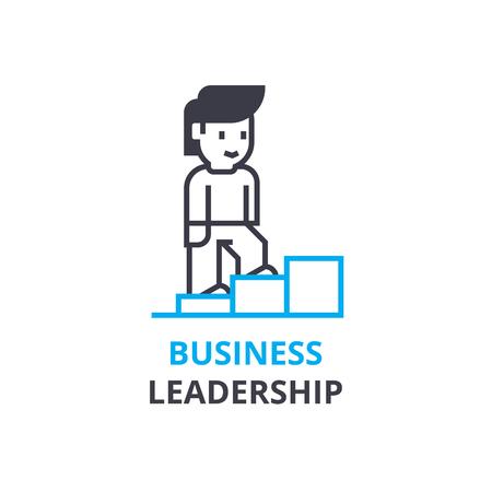 비즈니스 리더십 개념, 개요 아이콘, 선형 기호, 얇은 선 그림, 로고, 평면 그림, 벡터