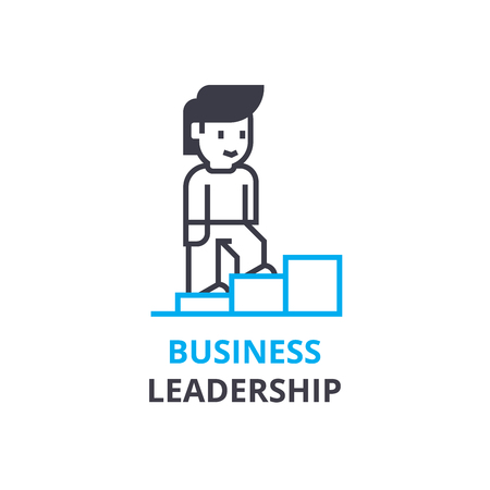 Business leadership concept , outline icon, linear sign, thin line pictogram, logo, flat illustration, vector Иллюстрация