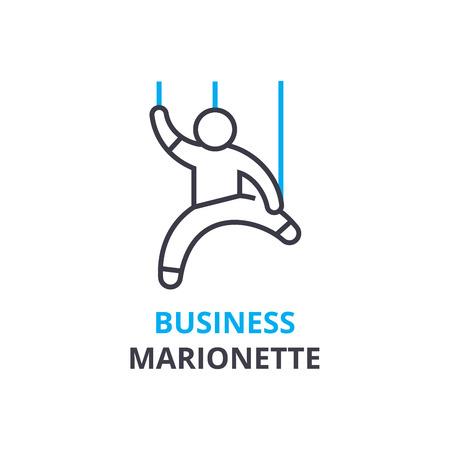 비즈니스 마리오네트 개념, 개요 아이콘, 선형 기호, 얇은 선 그림, 로고, 평면 그림, 벡터
